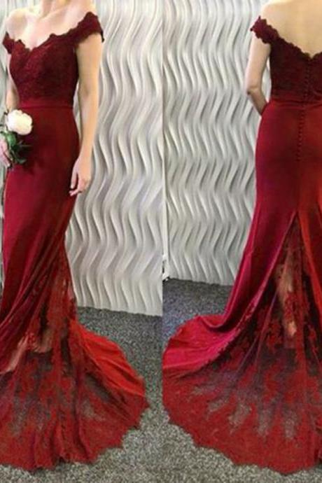 42f265e0924 Burgundy Floor Length Mermaid Chiffon Bridesmaid Dress Featuring Lace V  Neck Bodice