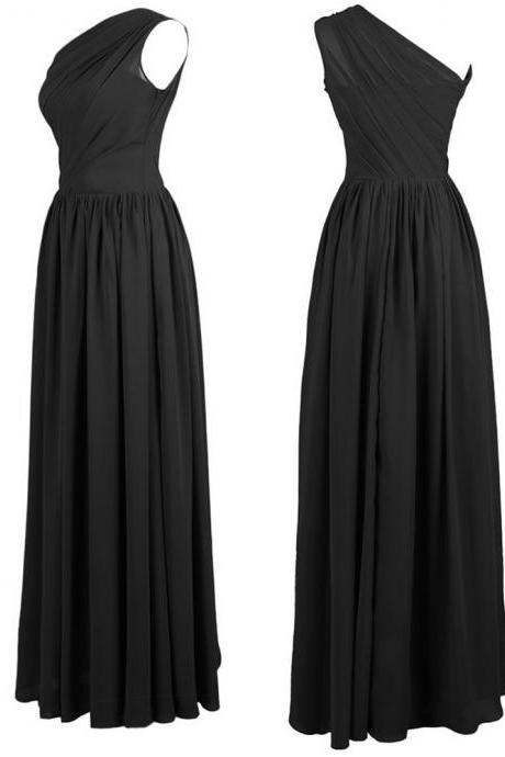 Ruched Chiffon One-Shoulder Floor Length A-Line Formal Dress, Prom Dress, Bridesmaid Dress