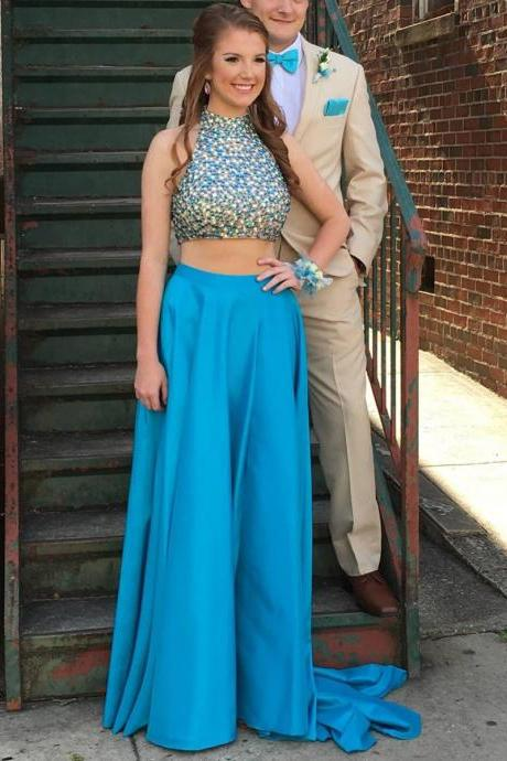 Sexy Satin Light Blue Backless A Line Prom Gowns, Blue Prom Dresses,A Line Prom Dresses 2017