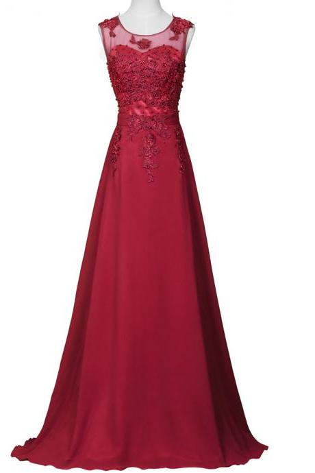 Charming Burgundy A Line Evening Dresses Lace Applique Beaded Strapless Long Elegant Prom Dress Robe De Soiree Formal Gowns