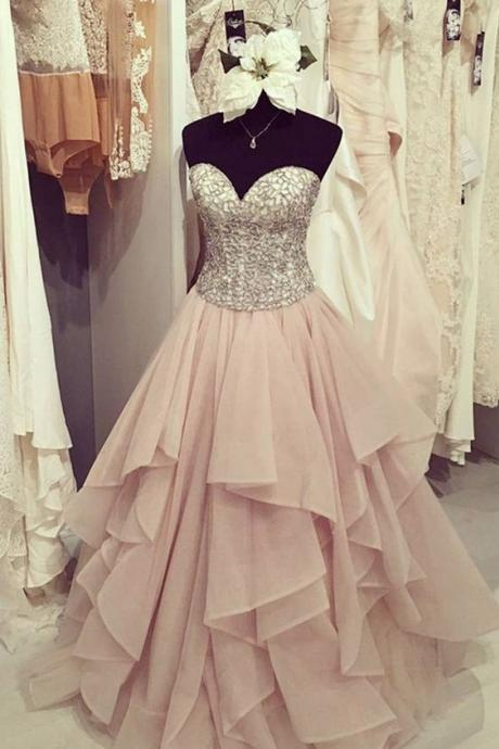 Fashion Floor Length Sweetheart Blush Prom Dress , Party Dresses, Evening Dresses, Long Prom Dress 2017 ,Graduation Dresses