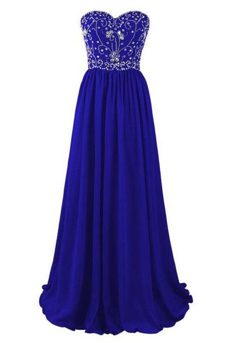 2017 Royal Blue Long Strapless A Line Evening Dresses With Rhinestones New Arrival Party Dress Robe De Soiree Formal Gowns