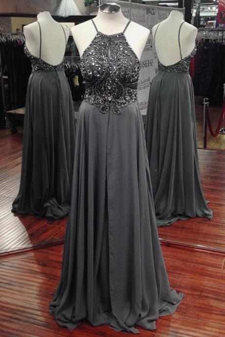 Sexy Gray Rhinestone Beaded Chiffon Formal Dress Featuring Halter Neckline And Open Back