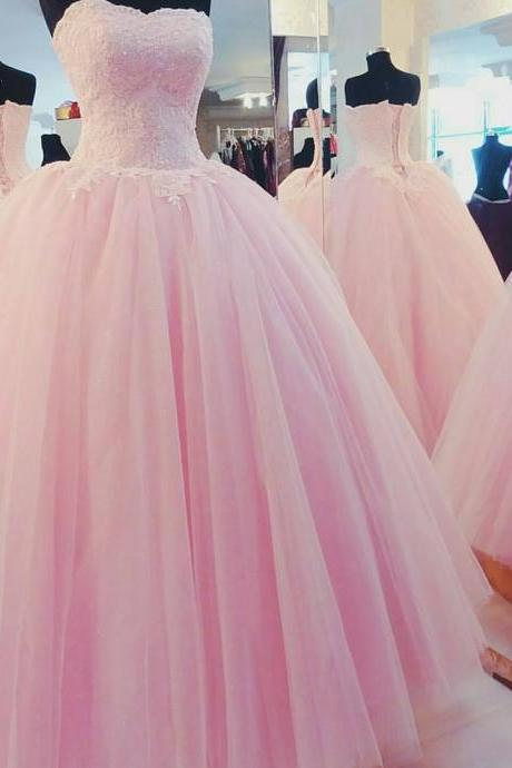 Pink Floor Length Tulle Quinceanera Gown Featuring Sweetheart Beaded Bodice