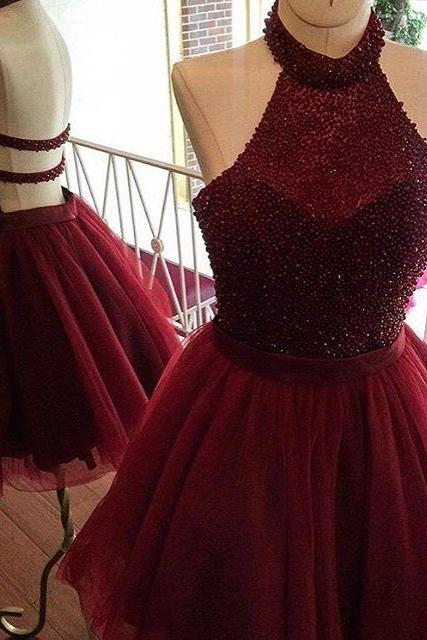 Short Burgundy Backless Tulle Dress Featuring Beaded Bodice With Halter Neckline