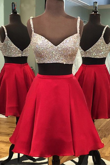 Short Red Satin Two Piece Dress Featuring Beaded Bodice And Spaghetti Straps