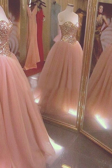 Sparkly Blush Tulle Ball Gown Formal Dresses Showcases Sequined Gold Bodice With Sweetheart Neckline - Long Elegant Prom Dresses, Sexy Sequined Evening Gown