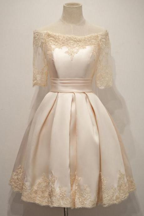 Charming Short Champagne Satin Dress Featuring Half Sleeve And Ruched Skirt