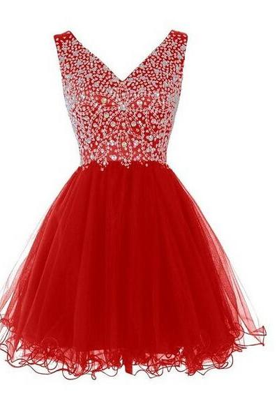 Beaded Embellished Plunge V Sleeveless Short Tulle Homecoming Dress, Cocktail Dress