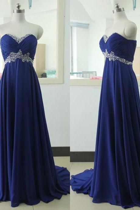 Charming Long Royal Blue Formal Dresses Featuring Ruched Bodice With Beaded Sweetheart Neckline - Long Elegant Prom Dress, 2017 Long Evening Gowns,