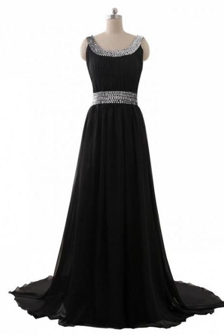 Floor Length Black Chiffon Formal Dresses Featuring Ruched Bodice With Beaded Sweetheart Neckline And Beaded Waistline -- Long Elegant Prom Dress,Sexy Black Beaded Prom Gown