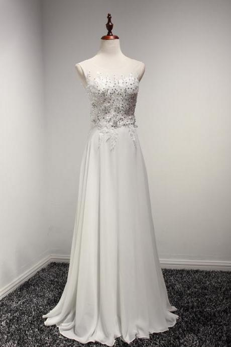 Long White Lace Applique Chiffon Formal Dresses Featuring Beaded Bodice With Sheer Bateau Neckline -- Long Elegant Prom Dress, Sexy Lace Applique Evening Gown