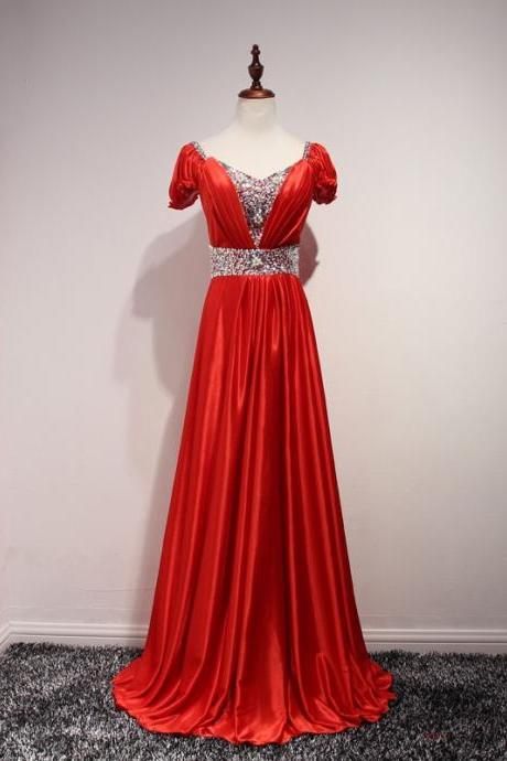 Red Floor Length A-Line Satin Pleated Bridesmaid Dress Featuring Short Sleeve