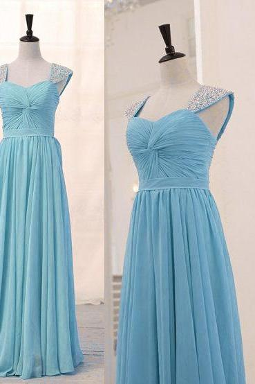 Sky Blue Front Knot Chiffon A-Line Long Bridesmaid Dress with Beaded Cap Sleeves