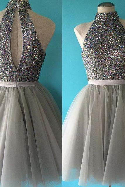 Elegant Short Gray Prom Dresses Sexy Rhinestone Halter Evening Dresses 2016 Real Photo Women Party Dresses Formal Gowns