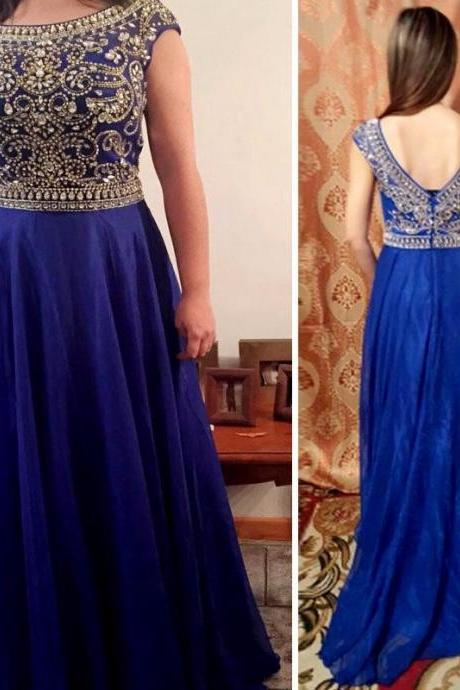 Long Royal Blue Chiffon Formal Dresses Featuring Rhinestone Beaded Bodice,Cap Sleeve And V Back -- Long Elegant Prom Dresses, Sexy Evening Gown,Party Dresses