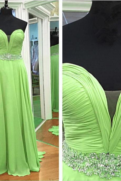 Charming Long Green Chiffon Formal Dresses Featuring Plunge V Neckline -- Party Dresses,Long Elegant Prom Dresses