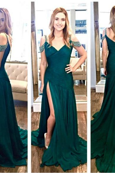 Sexy Teal Floor Length Chiffon Sheath Formal Dresses Showcases Spaghetti Straps And Side Split,Long Elegant Prom Dresses,Sexy Evening Gowns