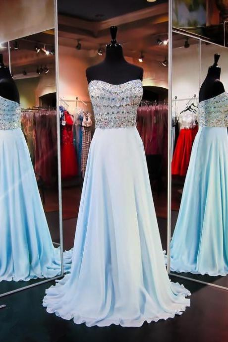 Charming Light Blue Long Chiffon Prom Dresses Showcases Rhinestone Beaded Sweetheart Bodice,Sexy Evening Gowns,Formal Dresses