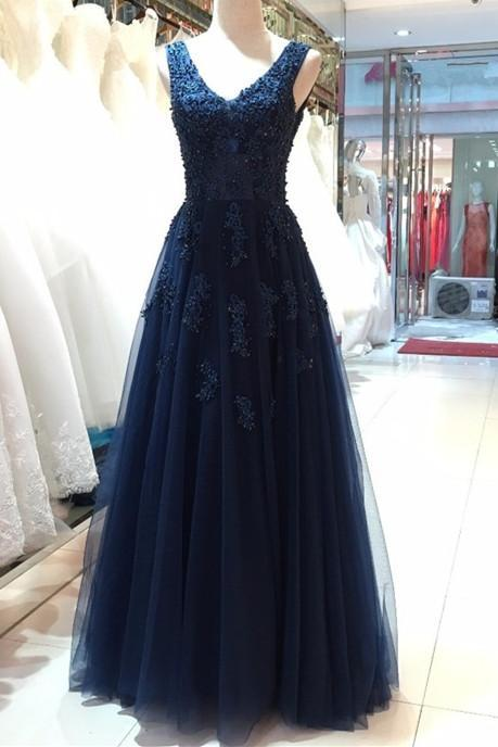 Navy Blue V Neck Lace Applique Prom Dresses , Strapless Tulle Backless A Line Evening Gowns - Formal Gowns, Party Dresses