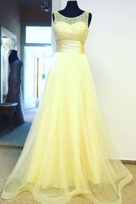 Yellow Tulle Prom Dresses , Sexy Beaded Sheer Neck Evening Gowns - Formal Gowns, Party Dresses