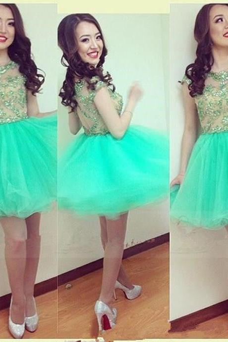 2016 Sexy Short Green Sheer Neck Organza Prom Dress , Graduation Dresses 2016,Party Dresses,Short Evening Dresses, Short Prom Dress 2016,