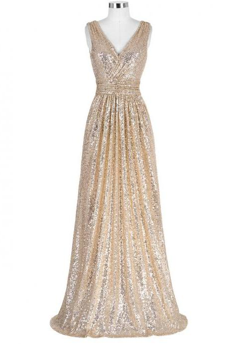 Gold Sequinned Floor Length A-Line Evening Dress Featuring Plunge V Bodice and Ruched Belt