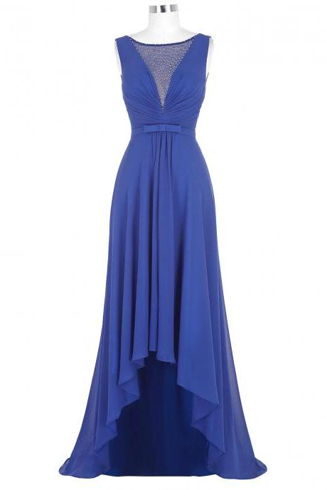 Chiffon High Low Sheath Pleated Prom Dress Featuring Plunge V Illusion Bodice with Beaded Embellishments and Bow Accent Belt