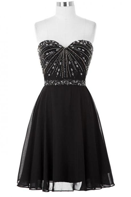 Black Chiffon Short A-Line Homecoming Dress Featuring Beaded Embellished Sweetheart Bodice and Lace-Up Back