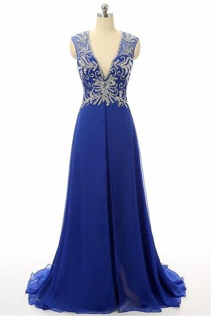 Royal Blue Floor Length Chiffon A-Line Prom Dress Featuring Beaded Embellished Plunge V Sleeveless Bodice and Open Back
