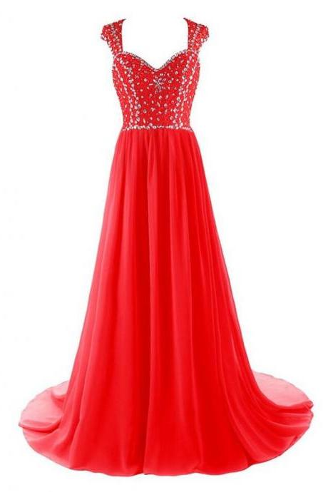Red Long Chiffon Evening Dress Featuring Rhinestone Beaded Bodice And Open Back