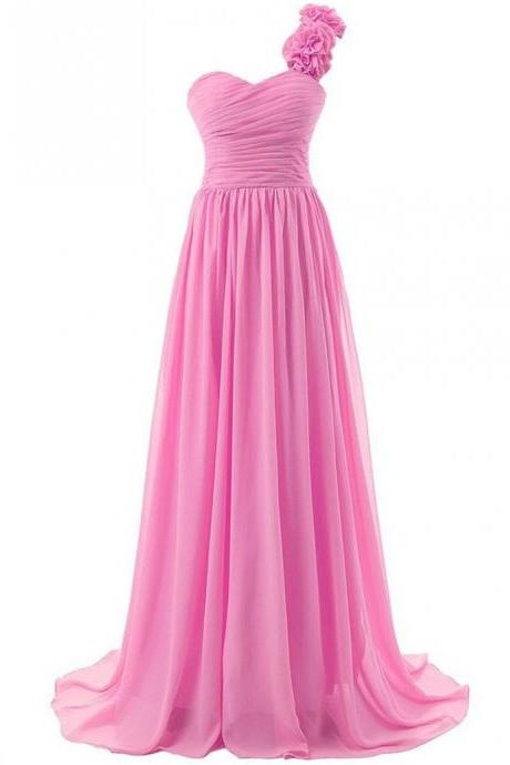 Pink Floor Length Chiffon A-Line Prom Dress Featuring Ruched Sweetheart Bodice, Floral Accent One Shoulder Strap and Lace-Up Back