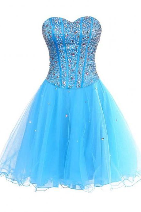 2017 Charming Blue Sweetheart Organza Short Prom Dresses , Graduation Dresses 2017,Party Dresses,Short Evening Dresses, Short Prom Dress 2017,Short Homecoming Dress