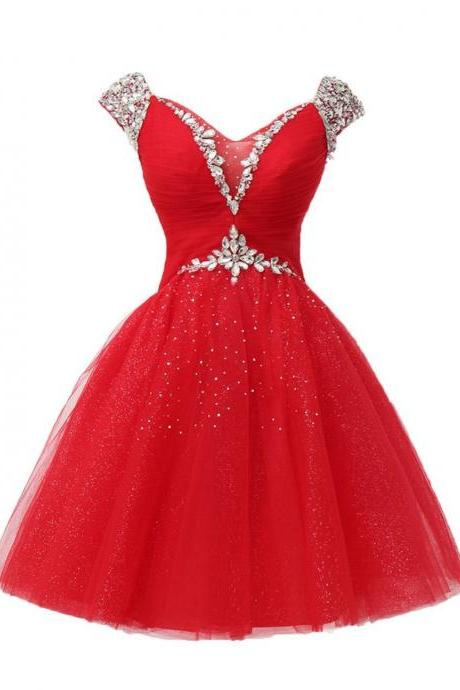 Red Graduation Cocktail Dresses Rhinestone Short Evening Dresses V Neck Crystal Tulle Mini Prom Dresses 2017 Real Photo Women Party Dresses Formal Gowns