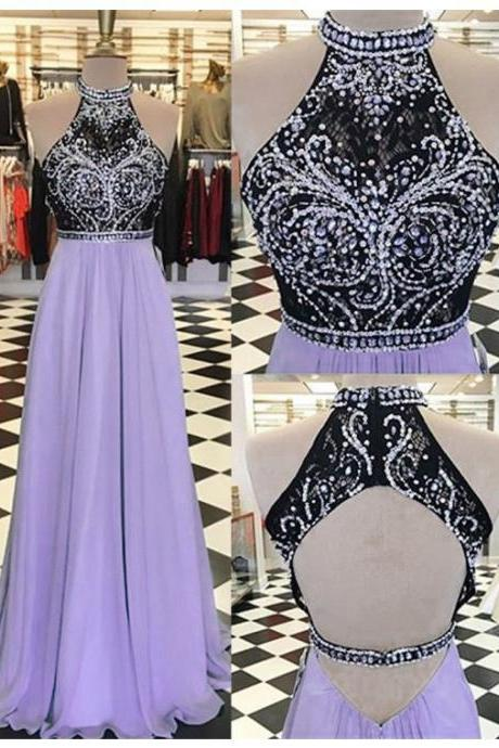 Sexy Lavender A Line Chiffon Long Prom Dress With Rhinestone Beaded Bodice,High Neck And Open Back