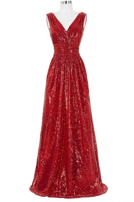Sparkly Red Sequined A Line Long Prom Dresses With V Neck And Zipper Back
