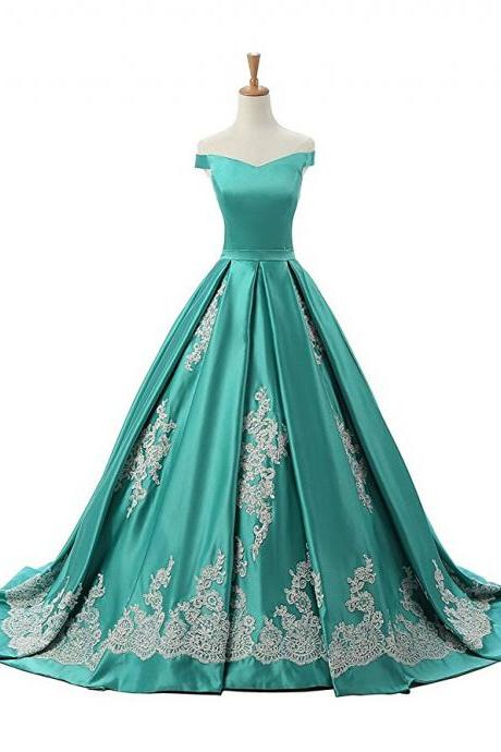 Turquoise Off Shoulder Neckline Satin Long Evening Dress, Prom Dress Featuring Lace Applique Ruched Skirt