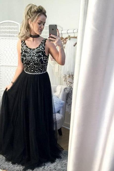 Sexy Black Tulle Strapless Formal Dresses With Jewel-embellished Bodice , Long Elegant Prom Dress