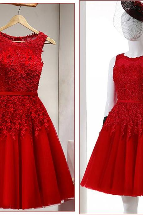 Red Bridesmaid Dress,Bridesmaid Dress,Bridesmaid Dresses,Lace Applique Bridesmaid Dress,Short Bridesmaid Dresses,Tulle Bridesmaid Dresses,Sexy Bridesmaid Dresses