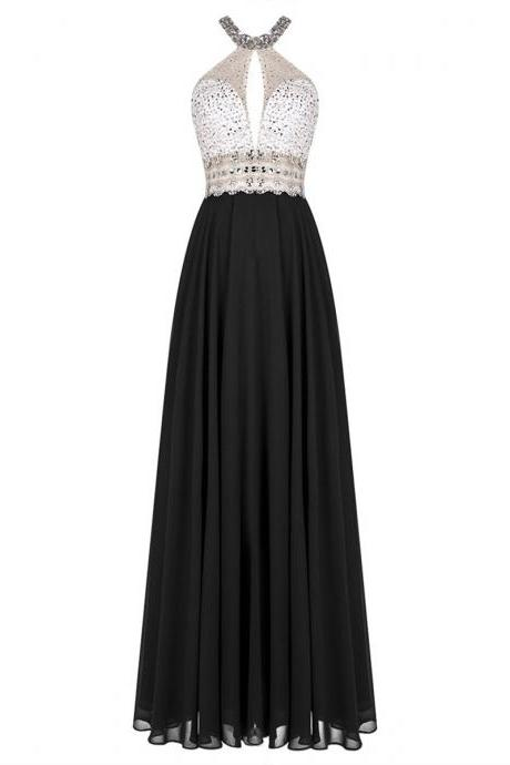 Beaded Embellished High Halter Neck Black Chiffon Floor Length A-Line Bridesmaid Dress Featuring Open Back