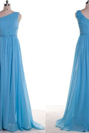 Simple Chiffon Blue Chiffon One Shoulder Ruched Formal Dresses-Evening Gowns, Prom Dress