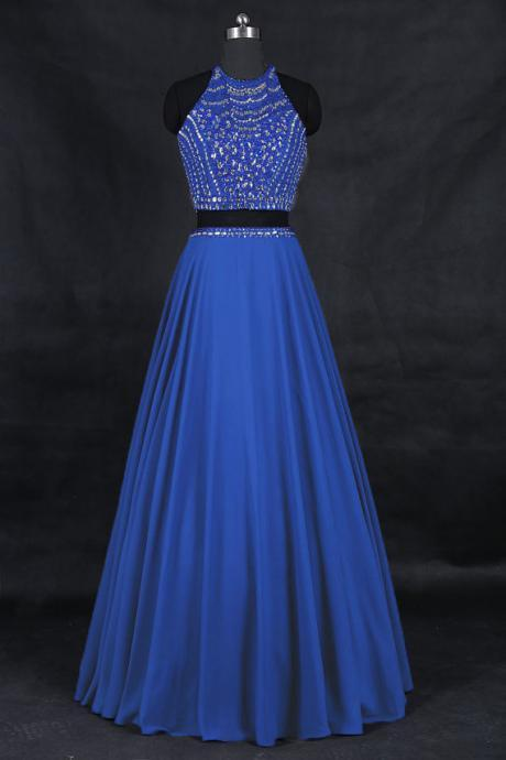 Elegant Light Blue Chiffon Beaded Formal Dresses-Evening Gowns, Two Piece Prom Dress