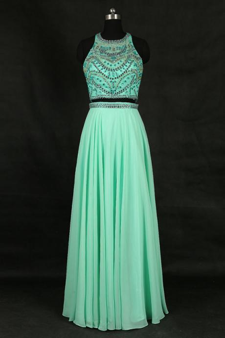 Elegant Mint Green Chiffon Beaded Formal Dresses- Long Evening Gowns, Two Piece Prom Dresses