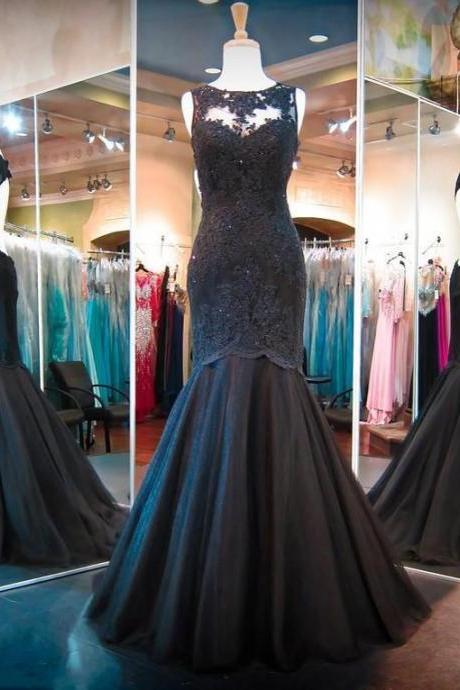 2017 Long Black Mermaid Prom Dresses Sexy Backless Prom Gowns Lace Applique Evening Dresses Party Dress Robe De Soiree