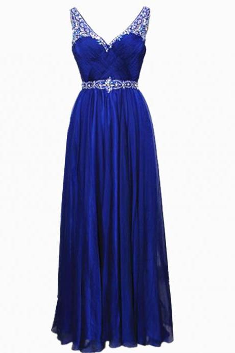 Royal Blue Prom Dresses Rhinestone Beaded Chiffon Prom Gowns 2017 Strapless Party Evening Dress For Women