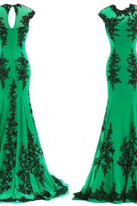 Elegant Long Green Prom Dresses Lace Applique Mermaid Prom Gowns 2017 Sheer Neck Party Evening Dress For Women