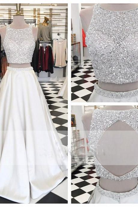White 2 Piece Prom Dresses With Beaded Bodice Long Backless Satin Formal Evening Gowns