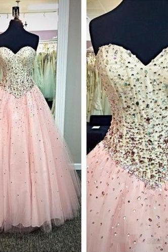Floor Length Pink Prom Dresses Sweetheart Tulle Beaded Formal Evening Gowns