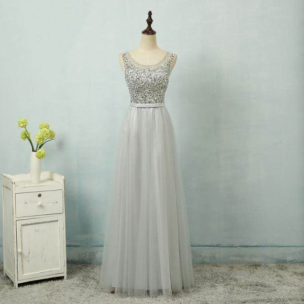 Sexy Gray Evening Dresses With Scoop Neck Long Elegant Tulle Beaded Prom Dresses Formal Gowns