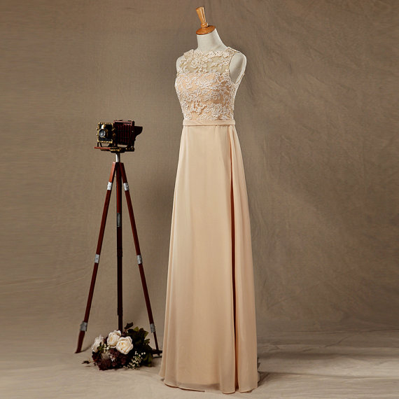 Sexy Champagne Chiffon Backless Lace Applique Formal Dresses-Evening Gowns, Prom Dress